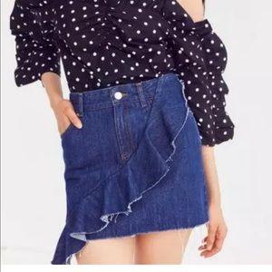 BDG Ruffle Denim Mini Skirt
